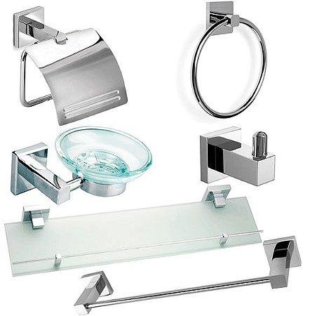 Kit Acessórios De Banheiro Completo Kit 6 Peças