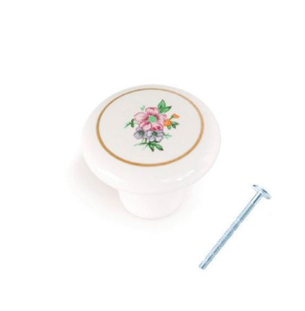 Puxador Porcelana Flor Rosa 38mm