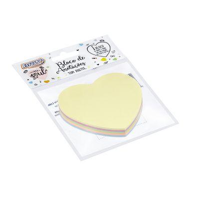 Bloco Smart Note 70x70 mm Coração Pastel 4 un