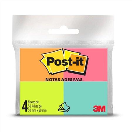 Bloco Post-It® 3M 50x38 mm 4 Blocos 50 Fls cada