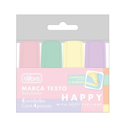Marca Texto Mini Happy Blister com 4 Unidades Tilibra