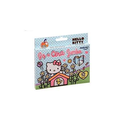 Giz de Cera Jumbo Hello Kitty 12 cores Molin