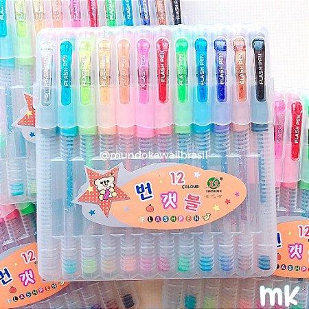 Caneta Flash Gel Pen 12 cores