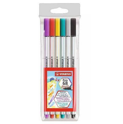 Estojo Caneta Stabilo Pen 68 BRUSH 6 cores