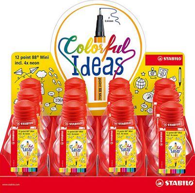 Caneta Stabilo Mini Colorful Ideas c/ 12 cores