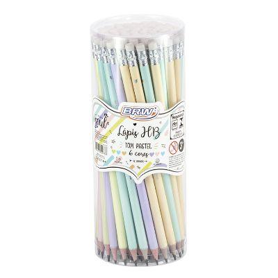 Lápis HB Pastel Resina Plástica Linha Soul BRW Pote 72 un