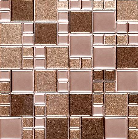 Revestimento Autoadesivo Resinado - Squares Bronze