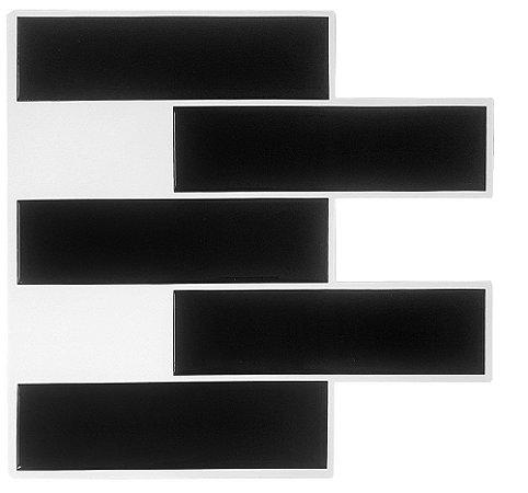 Revestimento Autoadesivo Resinado - Subway Black Tiles Duo