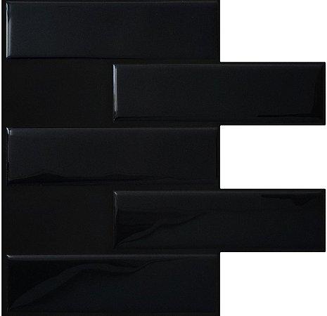 Revestimento Autoadesivo Resinado - Subway Black Tiles