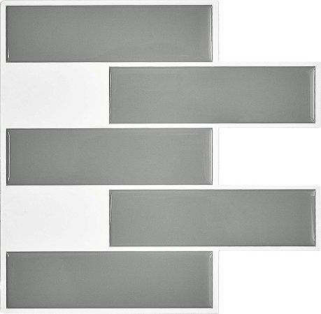 Revestimento Autoadesivo Resinado - Subway Gray Tiles Duo