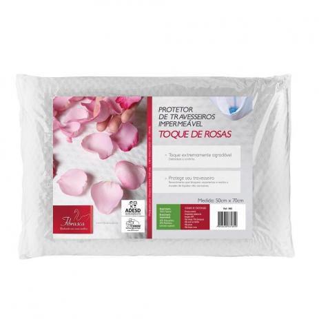 Capa de Travesseiro Protetor Impermeável Toque de Rosas - 50x70cm