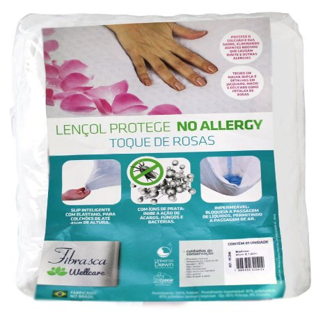 Lençol Protege No Allergy Toque de Rosas - 1,6x2m
