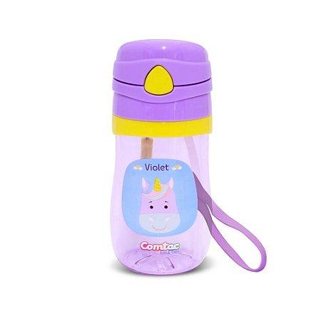 Copo Infantil Com Canudo Tritan Violet Comtac Kids 4169