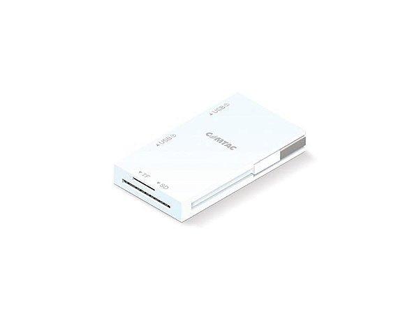 Hub USB 2.0 + Leitor de Cartões M.SD/SD - Branco - COMTAC - 9263
