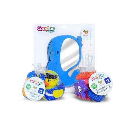 Kit Brinquedos Banho de Menina 1 - Espelho, patos e animais marinhos (53159523)