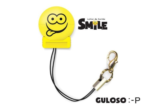 Leitor de Cartão Smile - Guloso - Cor Amarelo - COMTAC - 9206