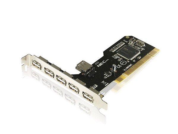 Placa PCI - 6 portas USB 2.0 Chipset NEC - COMTAC - 9046