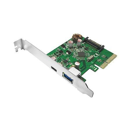Placa PCIe USB 3.1 10Gbps 2 Portas USB A e USB C Comtac 9327
