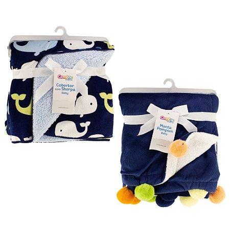 Kit Inverno Cobertor e Manta Bebê Menino - 57151000