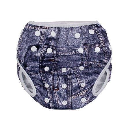 Fralda Ecológica Ajustável Com Botões Jeans Comtac Kids