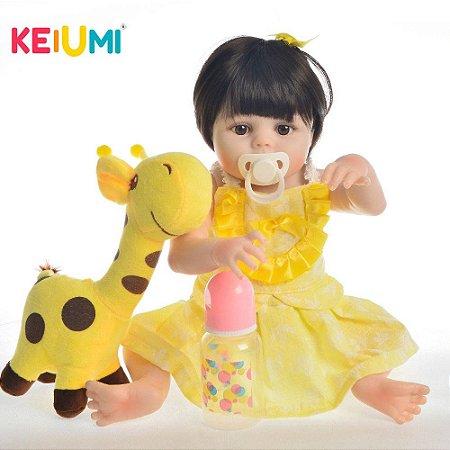 Boneca Bebê Reborn Real Realista Com Cabelo Menina Amelia Roupa Amarela 45cm 7 Acessórios