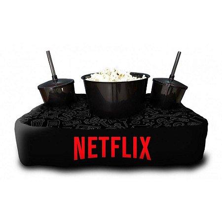 Almofada Porta Pipoca Personalizada Estampa Netflix Series Filmes Maratonas Presente Família Casal 2 Copos 300 ml Cada 1 Balde 3 litros