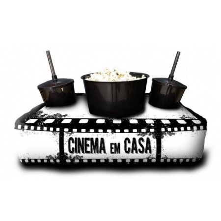 Almofada Porta Pipoca Personalizada Cinema Em Casa Series Filmes Maratonas Presente Família Casal 2 Copos 300 ml Cada 1 Balde 3 litros
