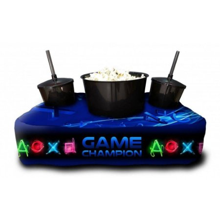 Almofada Porta Pipoca Personalizada Game Champion Netflix Series Filmes Maratonas Presente Família Casal 2 Copos 300 ml Cada 1 Balde 3 litros