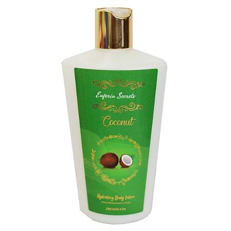 Creme Hidratante Loção Corporal Braços Perna Pele Suave Macia Perfumado Massagem Euforia Secrets Coconut 250ml