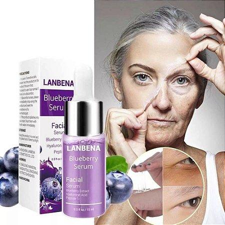 Serum Completo Acido Hialurônico + Blueberry + Peptide Botox Reduz Rugas Anti Envelhecimento Clareamento 15ml Lanbena