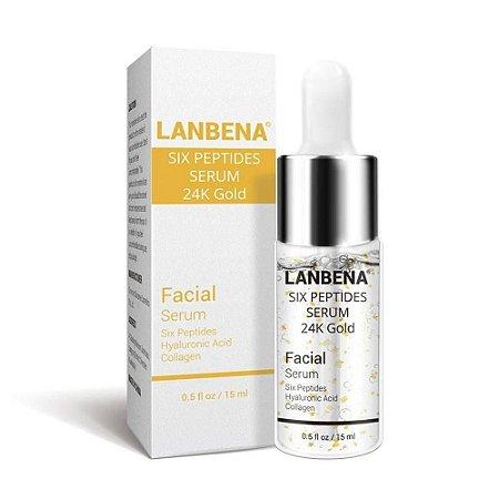 Serum Completo Ácido Hialurônico Colágeno 24k Ouro Gold Six Peptides Botox 15ml Lanbena