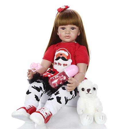Boneca Grande 60 cm Bebê Reborn Real Realista Menina Bia Cabelo Penteado 9 Acessórios Par de Tênis