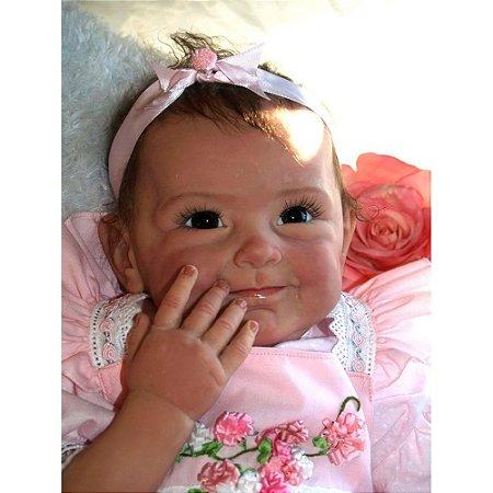 Boneca Reborn Menina Grande 55 cm Bebe Real Realista Bárbara Silicone Tecido 9 Acessórios