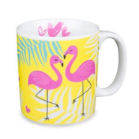 Caneca Flamingo Amarelo Porcelana 300ml Presente Aniversário Brinde