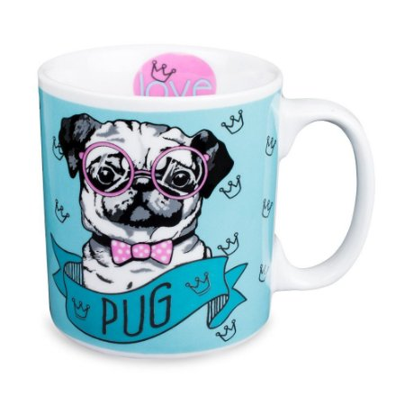 Caneca Cachorro Pug Porcelana 300ml Presente Aniversário Brinde