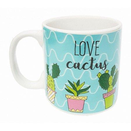 Caneca Love Cactus Porcelana 300ml Presente Aniversário Brinde