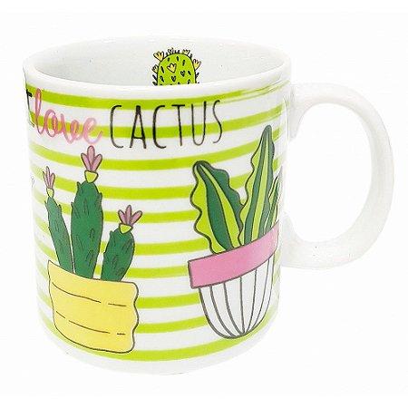 Caneca Love Cactus Listrado Porcelana 300ml Presente Aniversário Brinde