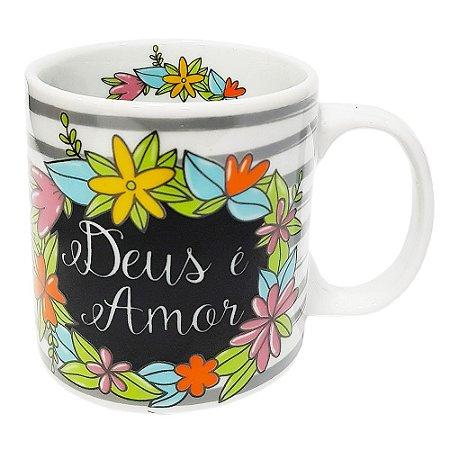 Caneca Deus É Amor Porcelana 300ml Presente Aniversário Brinde