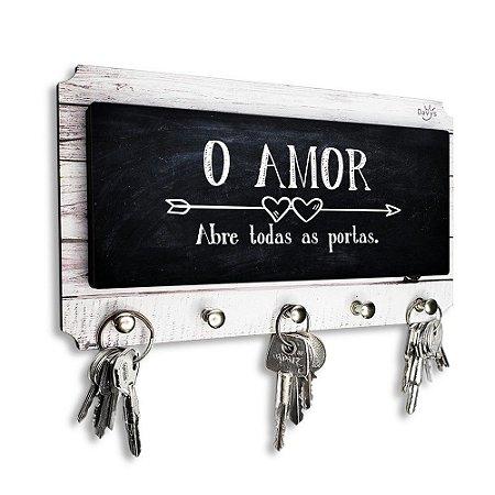 Porta Chaves E Cartas Decorativo Moderno Frase O Amor Abre Todas As Portas