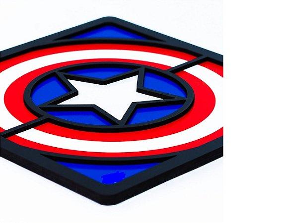 Quadro Decorativo 3D Alto Relevo Capitão América Mdf 3mm