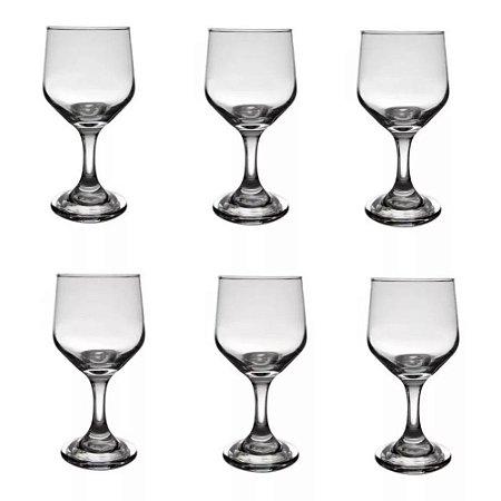 Jogo De Taças Para Vinho Vidro 6 Peças 300ml Bistrô Cisper