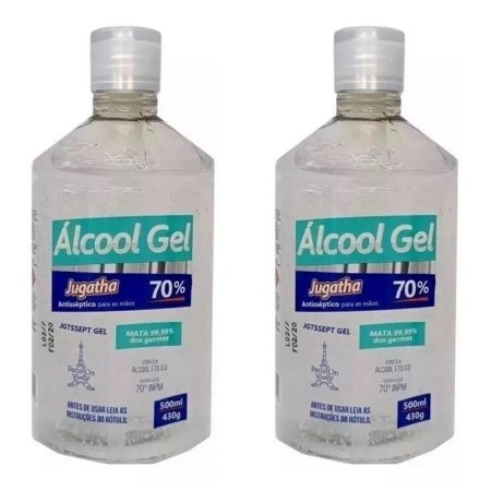 Kit 2 Unidades Álcool Gel 70% Combate Vírus Bactérias Germes Mata 99,99% Dos Germes Jugatha 500ml Cada