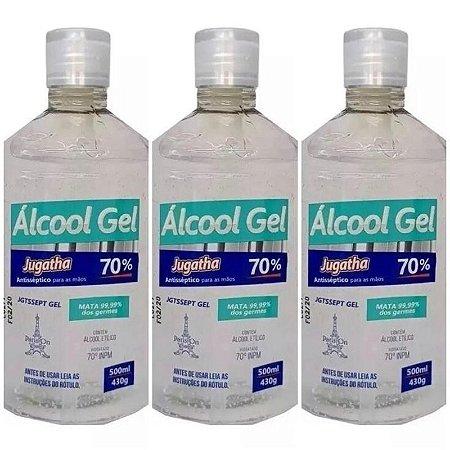 Kit 3 Unidades Álcool Gel 70% Combate Vírus Bactérias Germes Jugatha 500ml Cada