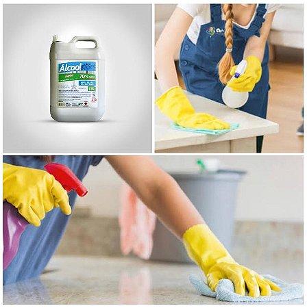 Higienizador Álcool Etílico 70% Escritórios Clinicas Casa Chão Germicida Desinfetante Galão 5 Litros