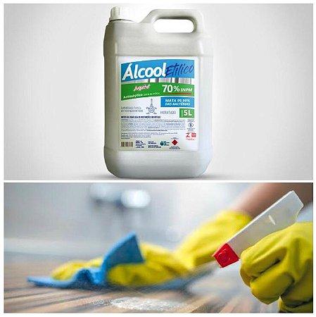 Desinfetante Líquido Álcool 5 Litros 70% Limpeza Desinfecção