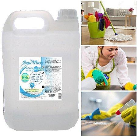 Antisséptico Mata 99,99% Dos Germes Álcool Etílico Liquido 70% Galão 5 Litros DepiMax
