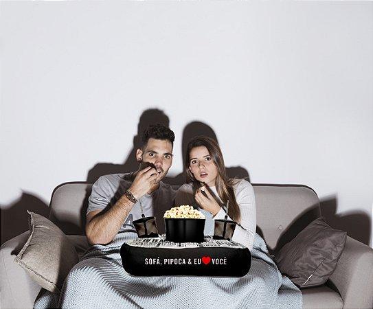 Almofada Kit Cinema Em Casa Porta Pipoca Copos + Balde Eu Amo Você