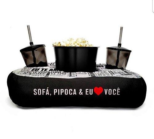 Kit Almofada Porta Pipoca Balde + Copos Eu Amo Você