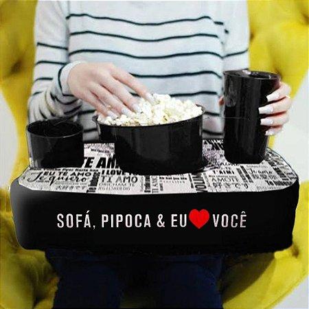 Kit Almofada Porta Pipoca 1 Balde + 2 Copos Eu Amo Você Presente Namorados
