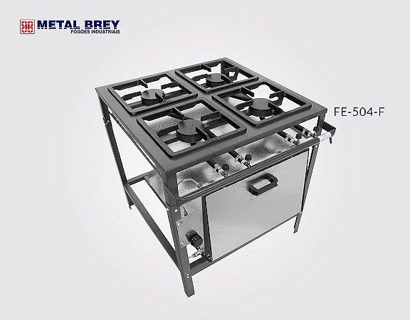 Fogão Industrial a Gás / 4 Bocas / FORNO / Linha Econômica / Alta Pressão / Metal Brey